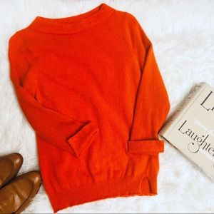 Anthro Sparrow Orange boatneck Cashmere Sweater